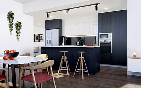 Shadow Scheme Dining Room | Arthouse Apartments Joondalup